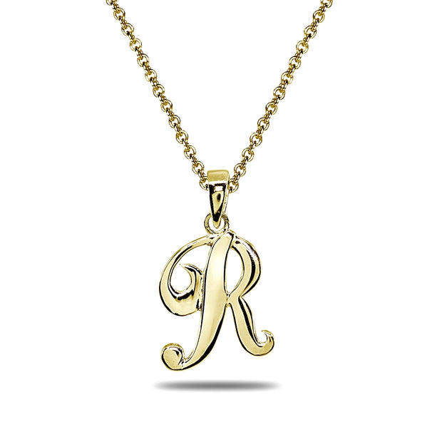 Yellow Gold Flashed Sterling Silver R Letter Initial Alphabet Name Personalized 925 Silver Pendant Necklace