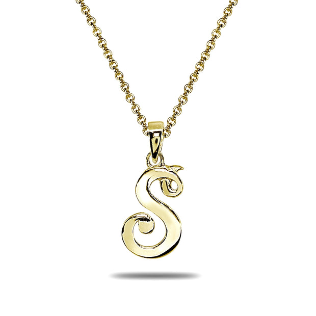 Yellow Gold Flashed Sterling Silver S Letter Initial Alphabet Name Personalized 925 Silver Pendant Necklace