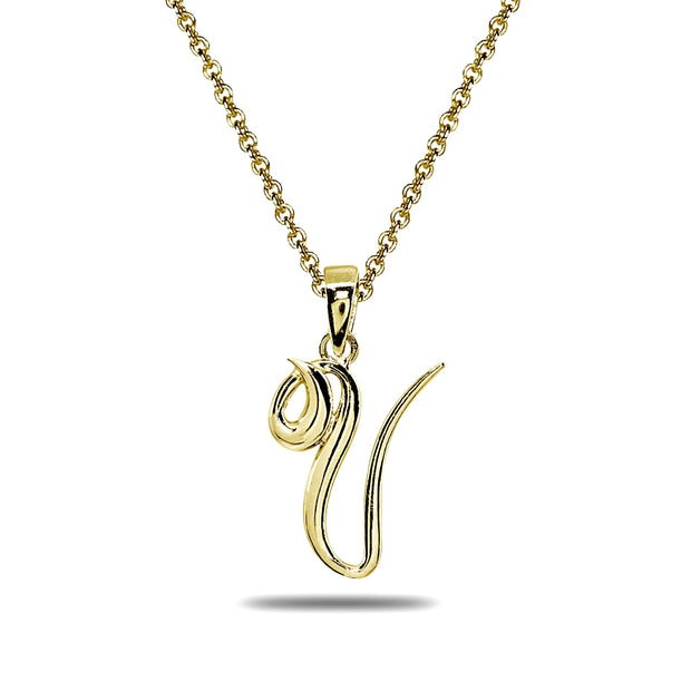 Yellow Gold Flashed Sterling Silver V Letter Initial Alphabet Name Personalized 925 Silver Pendant Necklace