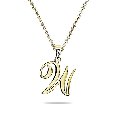 Yellow Gold Flashed Sterling Silver W Letter Initial Alphabet Name Personalized 925 Silver Pendant Necklace