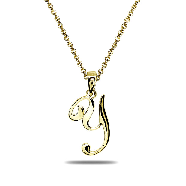 Yellow Gold Flashed Sterling Silver Y Letter Initial Alphabet Name Personalized 925 Silver Pendant Necklace