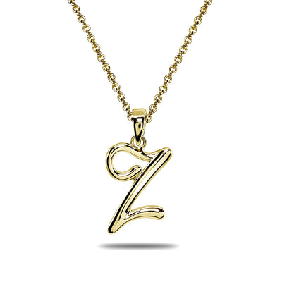 Yellow Gold Flashed Sterling Silver Z Letter Initial Alphabet Name Personalized 925 Silver Pendant Necklace