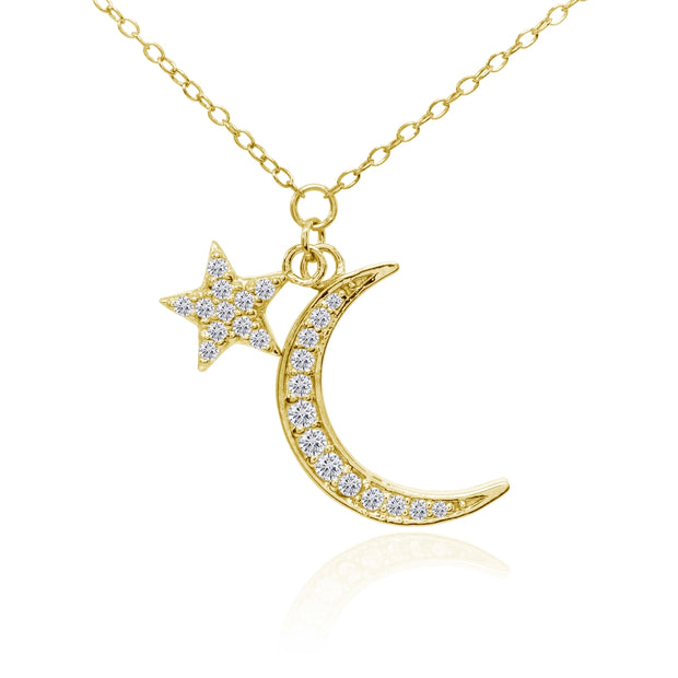 Yellow Gold Flashed Sterling Silver Cubic Zirconia Polished Moon and Star Dainty Minimalist Necklace