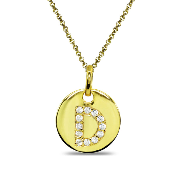 "Gold Flash Sterling Silver D Letter CZ Initial Alphabet Name Personalized Pendant Necklace, 15"" + Extender"
