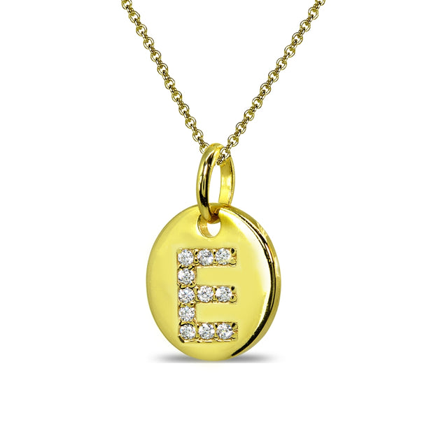 "Gold Flash Sterling Silver E Letter CZ Initial Alphabet Name Personalized Pendant Necklace, 15"" + Extender"