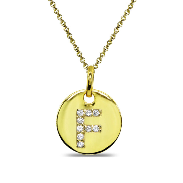 "Gold Flash Sterling Silver F Letter CZ Initial Alphabet Name Personalized Pendant Necklace, 15"" + Extender"