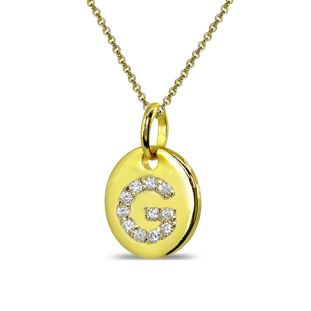 "Gold Flash Sterling Silver G Letter CZ Initial Alphabet Name Personalized Pendant Necklace, 15"" + Extender"