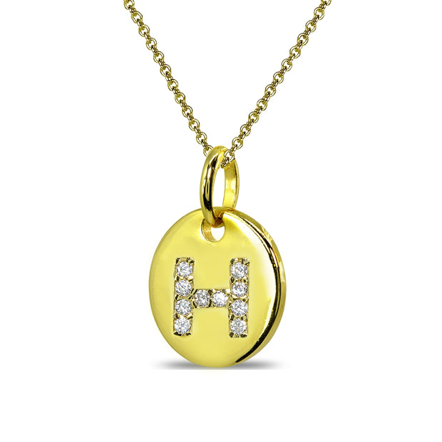"Gold Flash Sterling Silver H Letter CZ Initial Alphabet Name Personalized Pendant Necklace, 15"" + Extender"