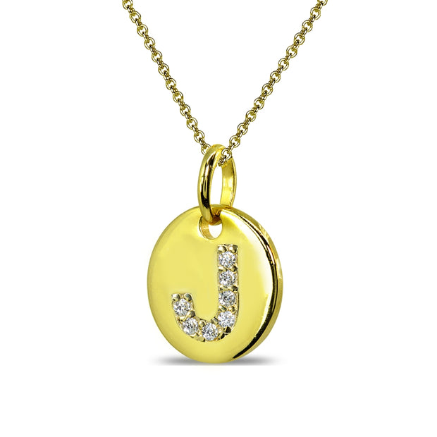 "Gold Flash Sterling Silver J Letter CZ Initial Alphabet Name Personalized Pendant Necklace, 15"" + Extender"
