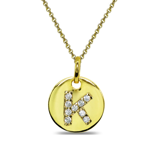 "Gold Flash Sterling Silver K Letter CZ Initial Alphabet Name Personalized Pendant Necklace, 15"" + Extender"