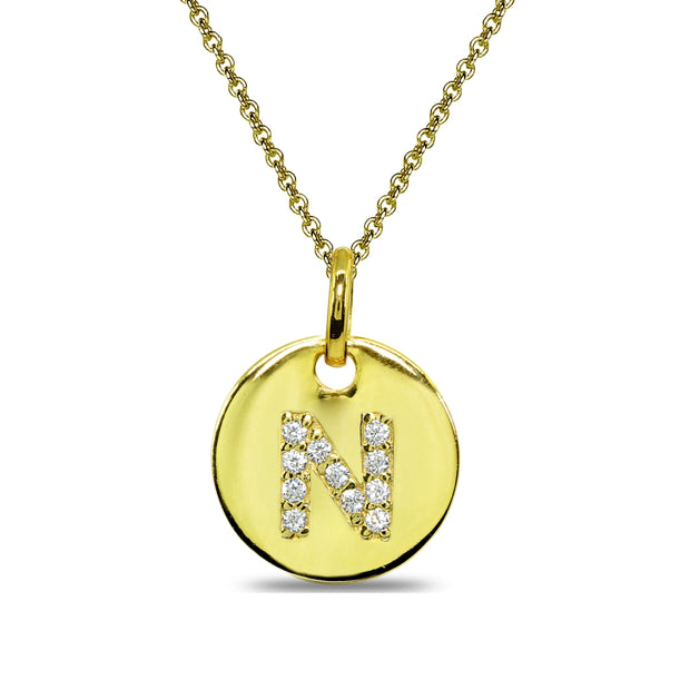 "Gold Flash Sterling Silver N Letter CZ Initial Alphabet Name Personalized Pendant Necklace, 15"" + Extender"