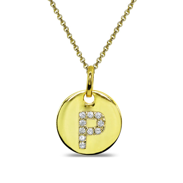 "Gold Flash Sterling Silver P Letter CZ Initial Alphabet Name Personalized Pendant Necklace, 15"" + Extender"