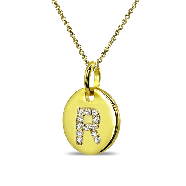 "Gold Flash Sterling Silver R Letter CZ Initial Alphabet Name Personalized Pendant Necklace, 15"" + Extender"