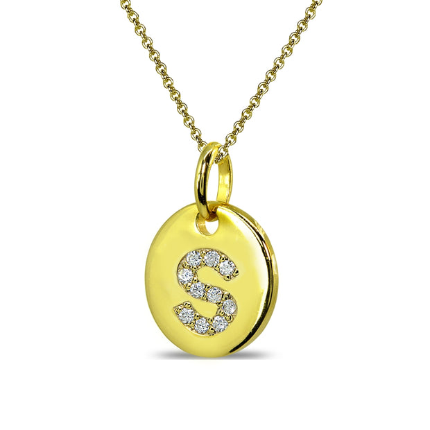 "Gold Flash Sterling Silver S Letter CZ Initial Alphabet Name Personalized Pendant Necklace, 15"" + Extender"