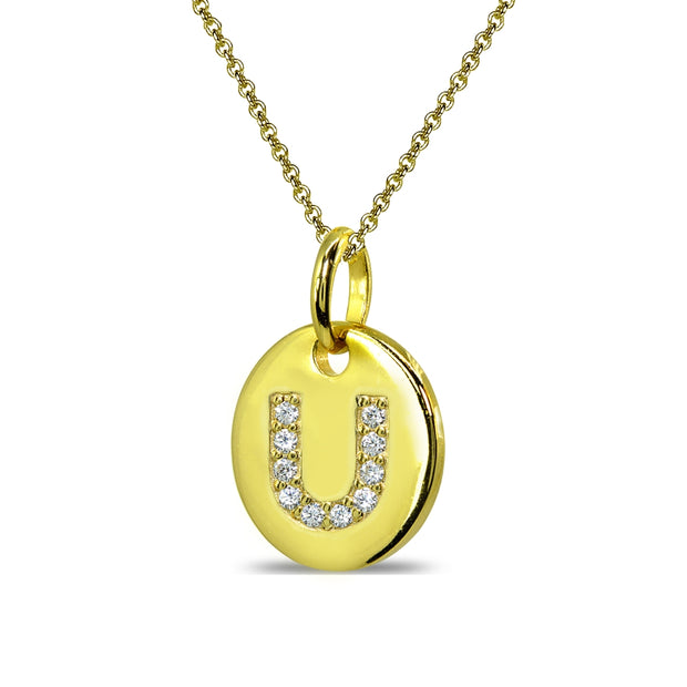 "Gold Flash Sterling Silver U Letter CZ Initial Alphabet Name Personalized Pendant Necklace, 15"" + Extender"
