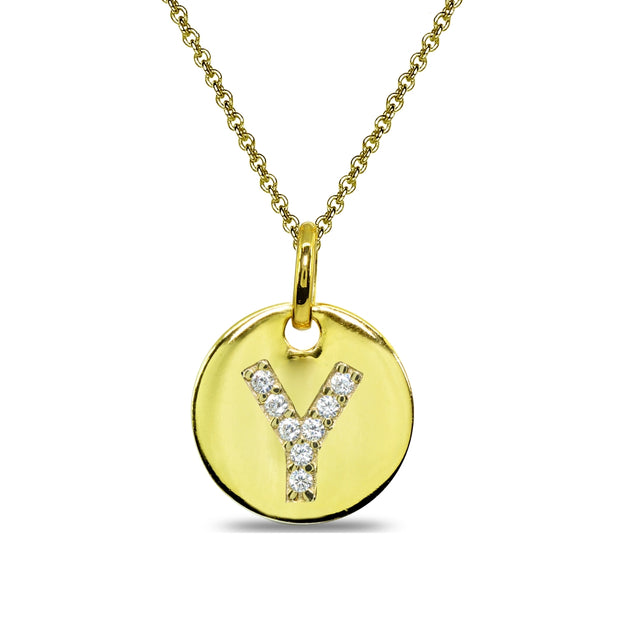 "Gold Flash Sterling Silver Y Letter CZ Initial Alphabet Name Personalized Pendant Necklace, 15"" + Extender"