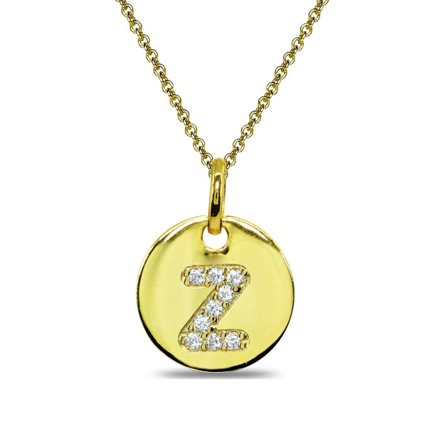 "Gold Flash Sterling Silver Z Letter CZ Initial Alphabet Name Personalized Pendant Necklace, 15"" + Extender"