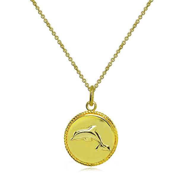 Yellow Gold Flashed Sterling Silver Polished Dolphin Animal Medallion Coin Round Pendant Necklace