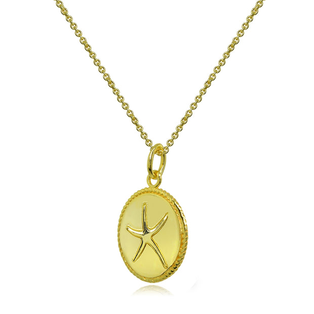 Yellow Gold Flashed Sterling Silver Polished Sea Starfish Medallion Coin Round Pendant Necklace