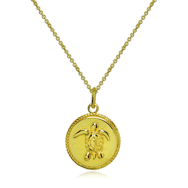 Yellow Gold Flashed Sterling Silver Polished Sea Turtle  Medallion Coin Round Pendant Necklace