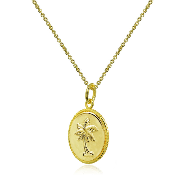 Yellow Gold Flashed Sterling Silver Polished Palm Tree Summer Medallion Coin Round Pendant Necklace