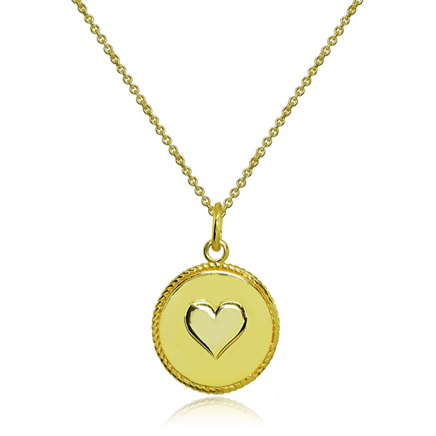 Yellow Gold Flashed Sterling Silver Polished Heart Love Medallion Coin Round Pendant Necklace