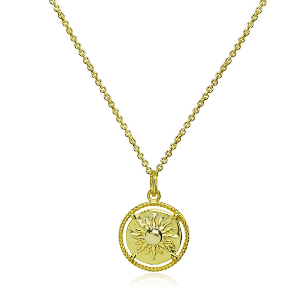 Yellow Gold Flashed Sterling Silver Polished Sun Celestial Medallion Coin Round Pendant Necklace