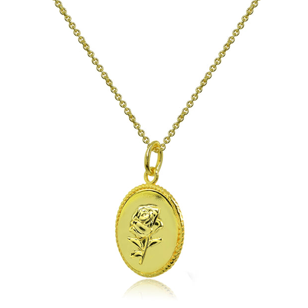 Yellow Gold Flashed Sterling Silver Polished Rose Flower Medallion Coin Round Pendant Necklace