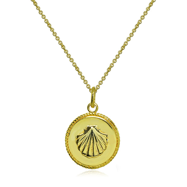 Yellow Gold Flashed Sterling Silver Polished Sea Shells Medallion Coin Round Pendant Necklace