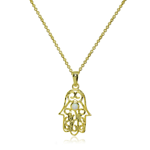 Yellow Gold Flashed Sterling Silver Synthetic White Opal Round Polished Hamsa Hand Filigree Pendant Necklace