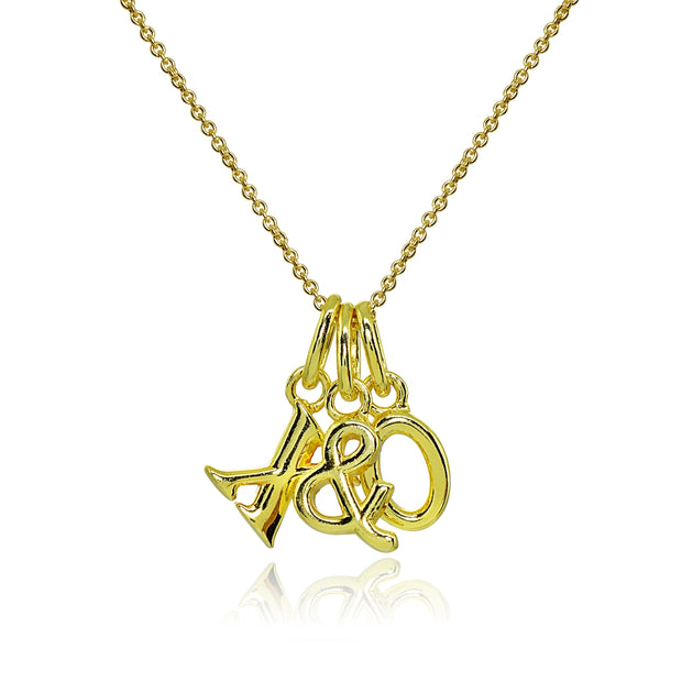 Yellow Gold Flashed Sterling Silver Polished X&O Hugs and Kisses Charm Pendant Necklace