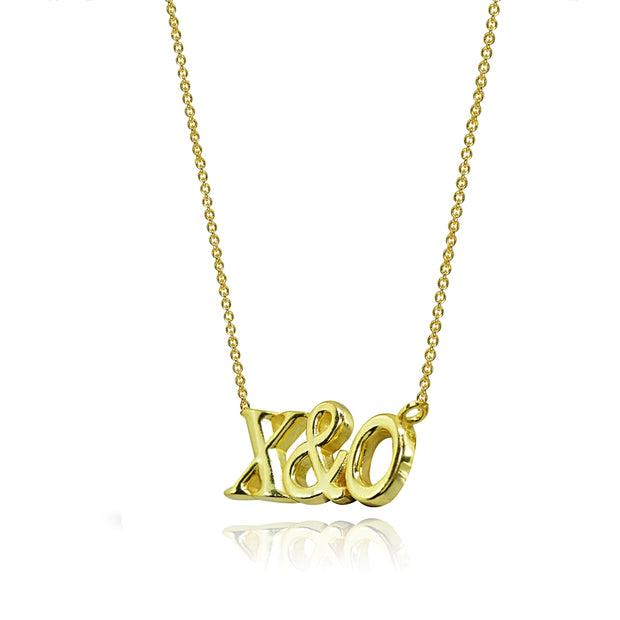 Yellow Gold Flashed Sterling Silver Polished X&O Hugs and Kisses Necklace