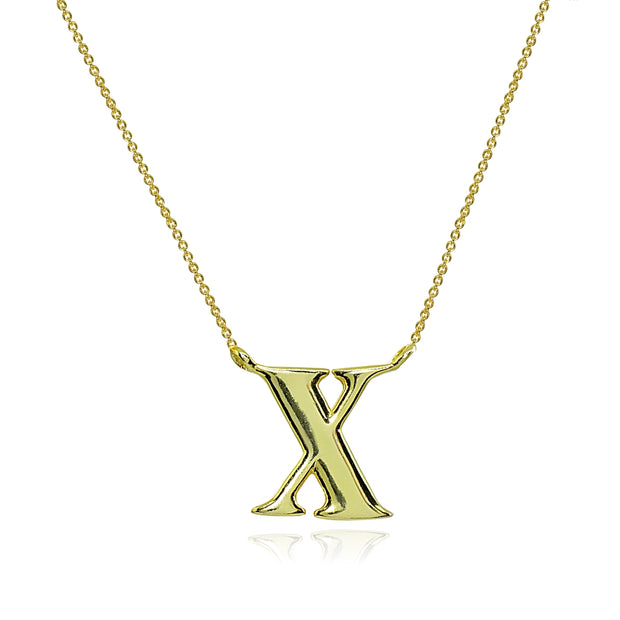 Yellow Gold Flashed Sterling Silver Polished X Alphabet Letter Initial Necklace