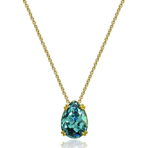 Yellow Gold Flashed Sterling Silver Blue Glitter 14x10mm Teardrop Dainty Slide Pendant Necklace