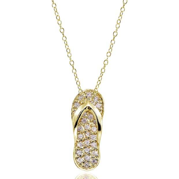 Yellow Gold Flashed Sterling Silver Created Morganite Flip-Flop Beach Sandal Necklace