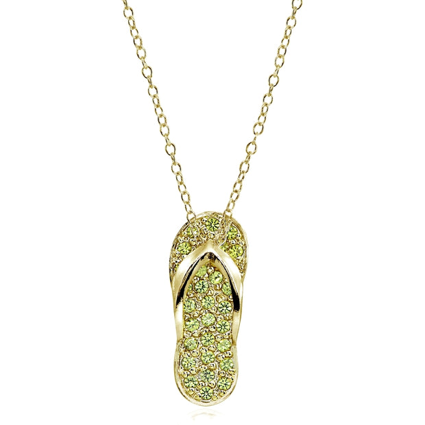 Yellow Gold Flashed Sterling Silver Simulated Peridot Flip-Flop Beach Sandal Necklace