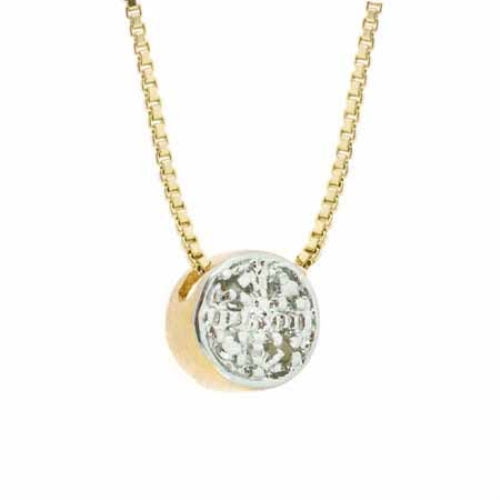 18K Gold over Sterling Silver Diamond Accents Circle Slide Pendant