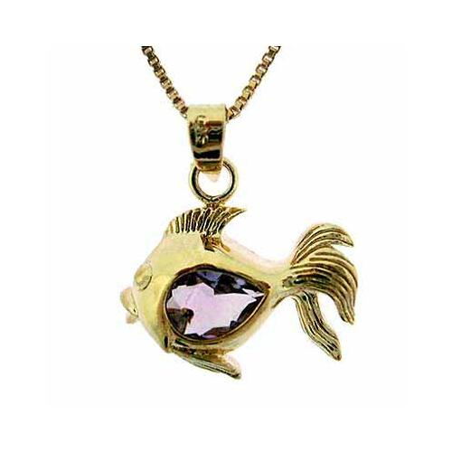 18K Gold over Sterling Silver 3/5ct Amethyst Fish Pendant