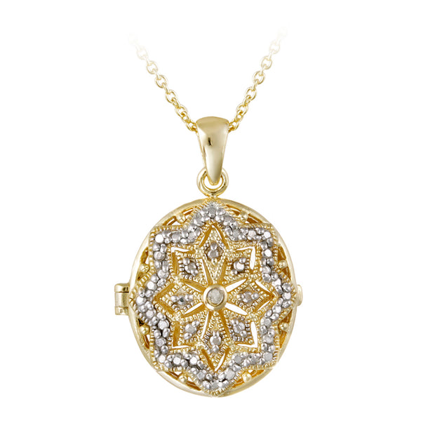 18K Gold Plated Diamond Accent Filigree Oval Locket Necklace