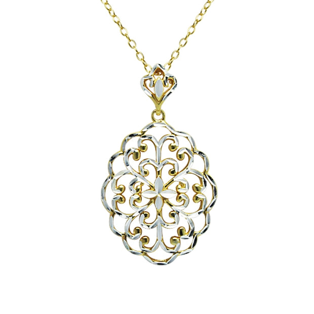 Yellow Gold Flashed Sterling Silver Two-Tone Diamond-Cut Filigree Oval Swirl Flower Pendant Necklace