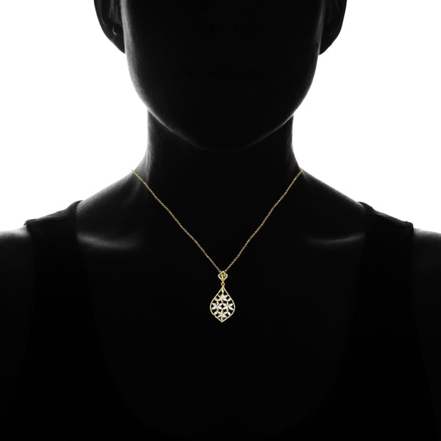 Yellow Gold Flashed Sterling Silver Two-Tone Diamond-Cut Filigree Flower Teardrop Pendant Necklace