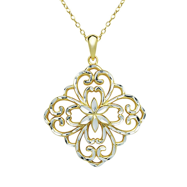 Yellow Gold Flashed Sterling Silver Two-Tone Diamond-Cut Filigree Flower Diamond-Shape Pendant Necklace