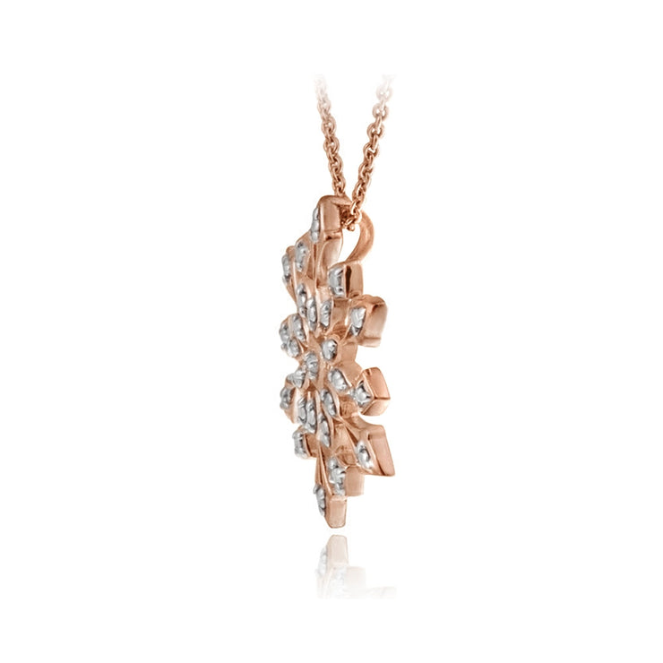 Rose Gold Tone over Sterling Silver Genuine Diamond Accent Snowflake Pendant