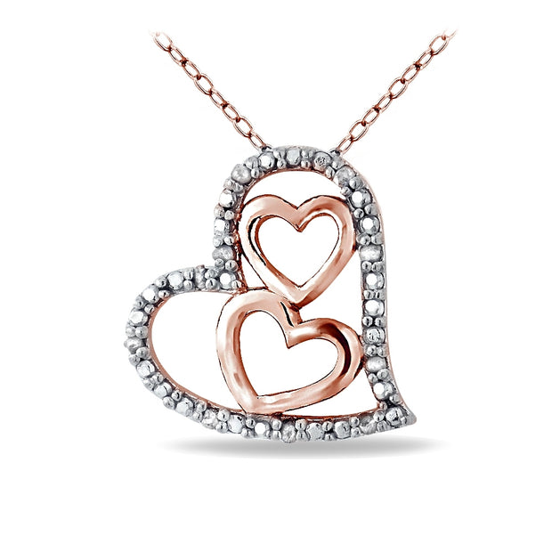 Rose Gold Tone over Sterling Silver 1/10 ct Diamond Triple Heart Necklace