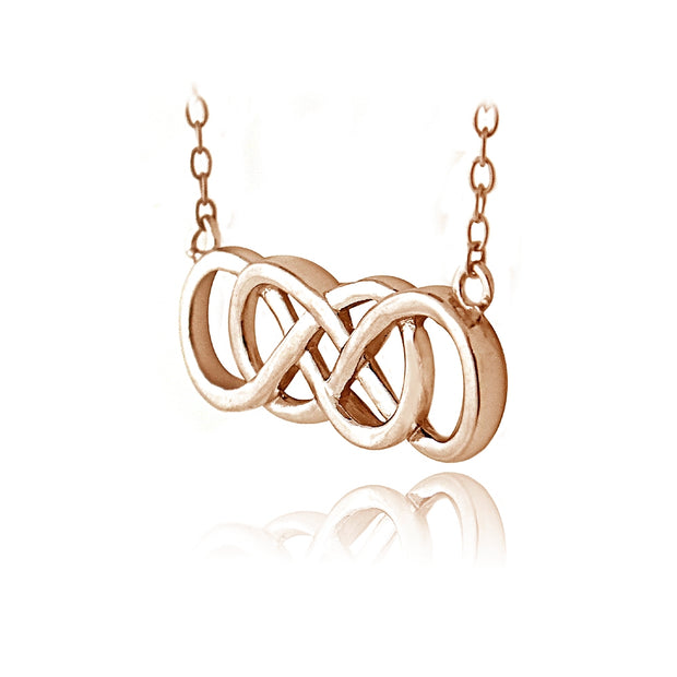 Rose Gold Tone over Sterling Silver Double Infinity Necklace