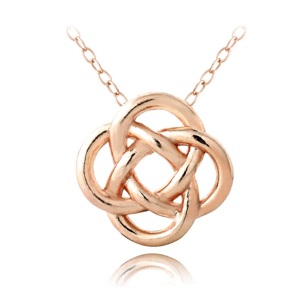 Rose Gold Tone over Sterling Silver Love Knot Flower Necklace