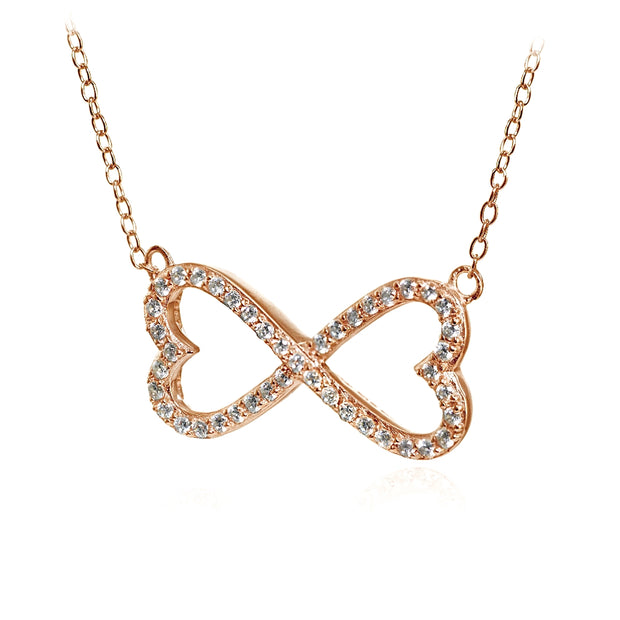 Rose Gold Flashed Sterling Silver Cubic Zirconia Heart Infinity Necklace