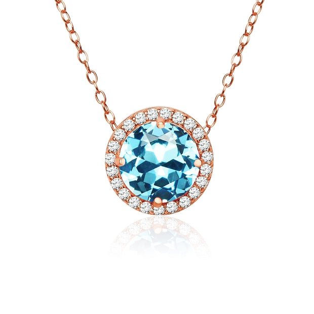 Rose Gold Flashed Sterling Silver Created Aquamarine and Cubic Zirconia Round Halo Necklace