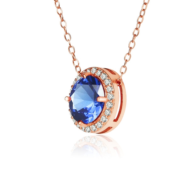 Rose Gold Flashed Sterling Silver Simulated Blue Sapphire and Cubic Zirconia Round Halo Necklace
