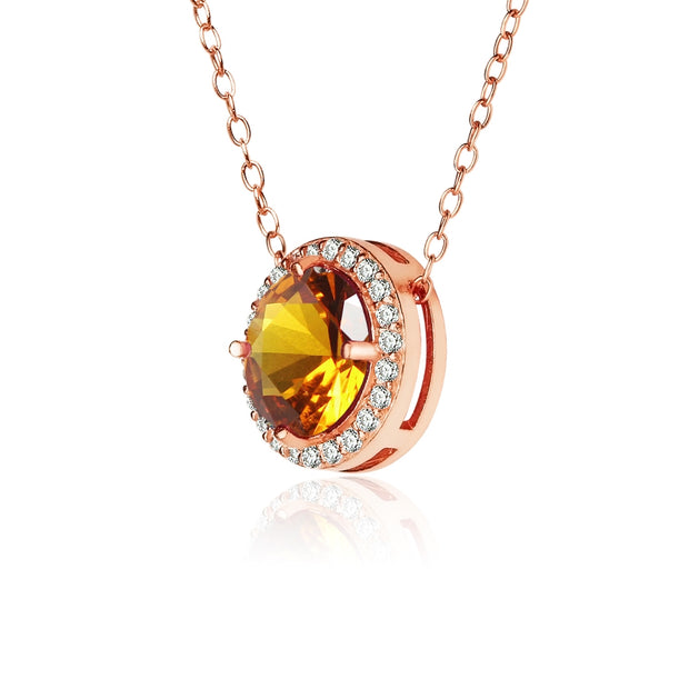 Rose Gold Flashed Sterling Silver Simulated Citrine and Cubic Zirconia Round Halo Necklace
